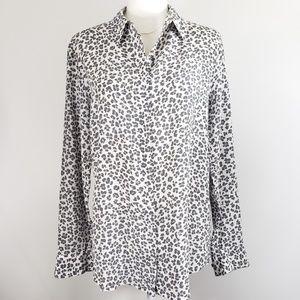 Equipment 100% Silk Leopard Print Blouse, size L